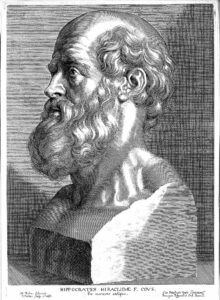 HIPPOCRATES {460?-377 B.C.} Engraving: bust of Hippocrates; by Paul Pontius after P.P. Rubens 'ex marmore antique', 1638. ; Science Museum Group's Creative Commons Policy