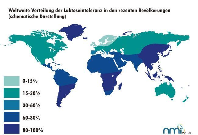 Weltweite Verteilung der Laktoseintoleranz